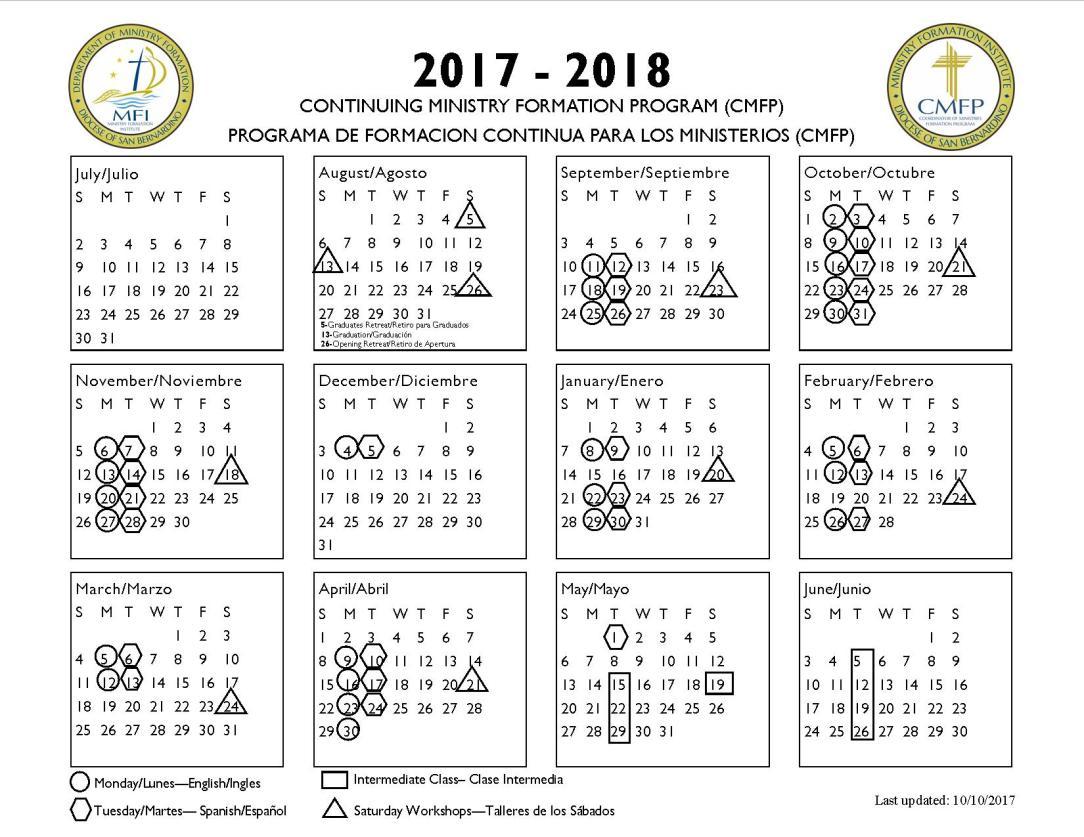 2017-2018 CMFP calendar
