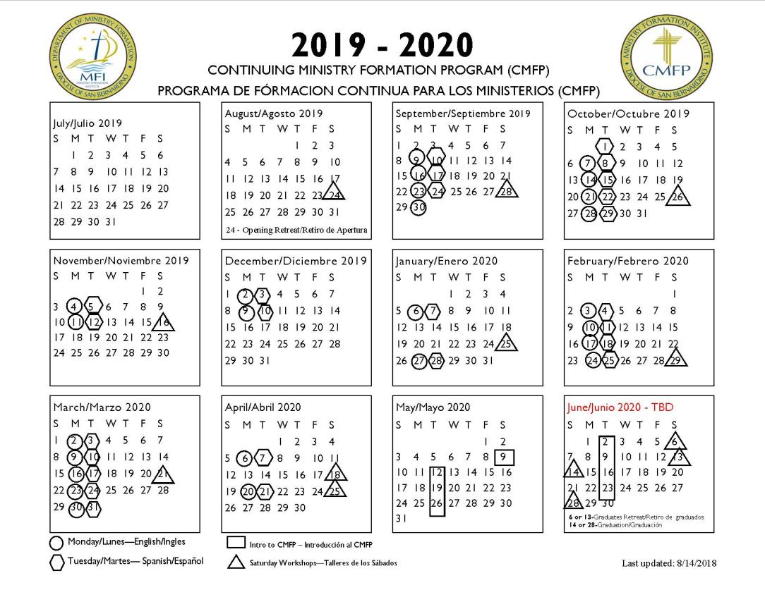 2018-2019 CMFP calendar 2