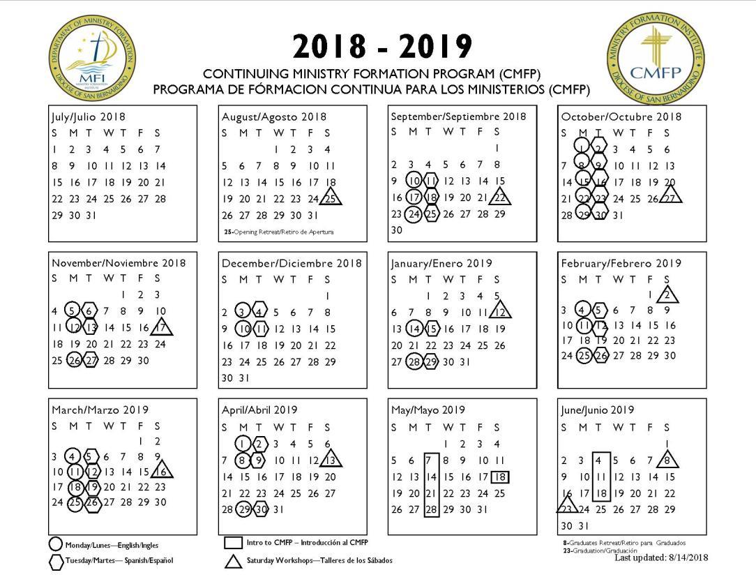 2018-2019 CMFP calendar
